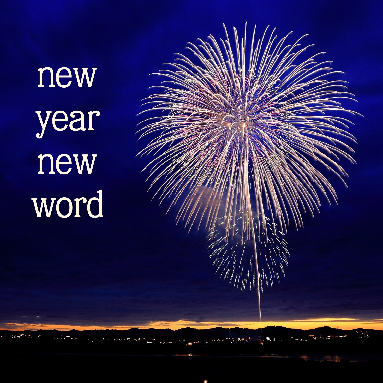 "Yellow and pink fireworks in a dark blue sky, the words ""new year new word"" to the left."